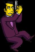 Johnny Tightlips Posing While Wielding his Gun