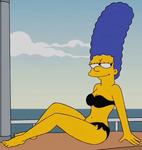 Marge in a Black bikini