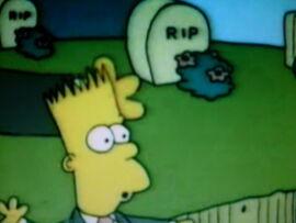 Bart estragando o funeral.