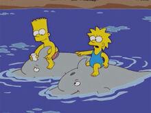 Bart lisa golfinhos 18x13