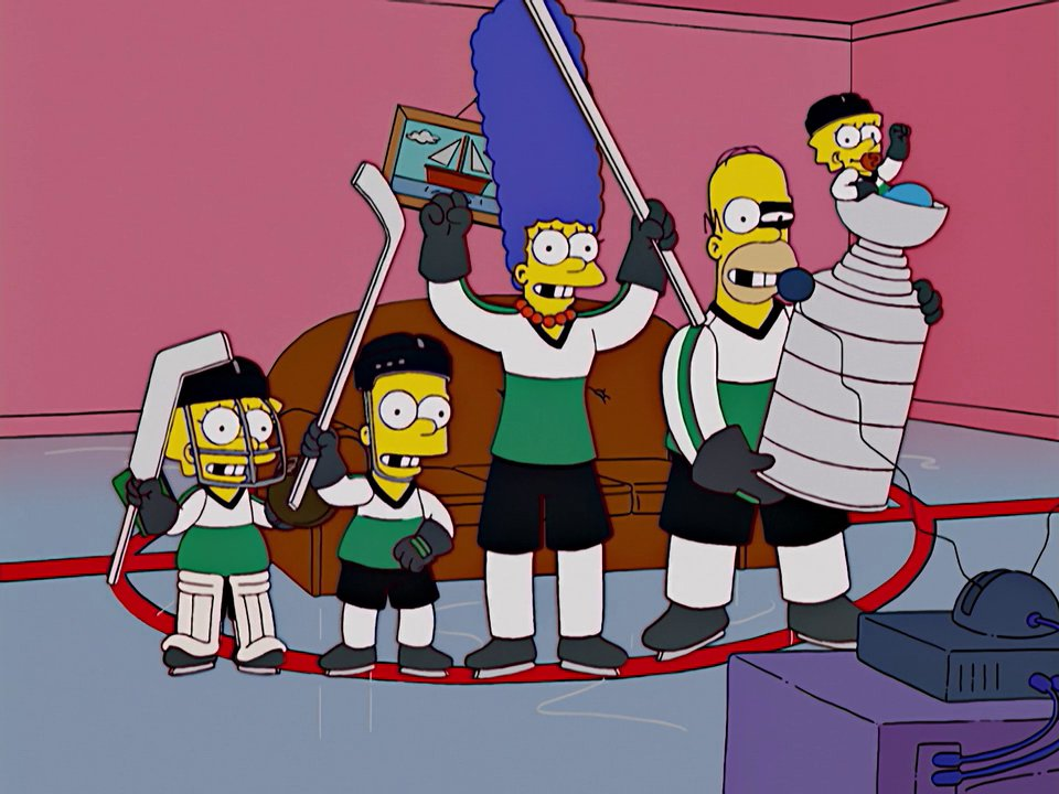 Hockey player family couch gag