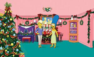 A Casa dos Simpsons decorada para o Natal.