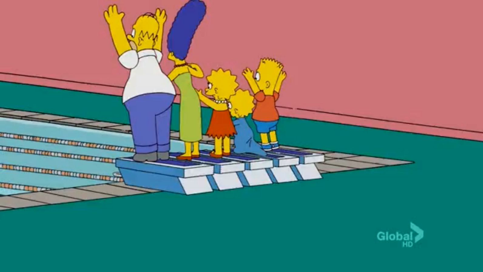 Olympic Swimming Family couch gag