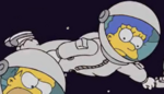 Marge in a spacesuit