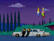 Homer and Krusty Sneaking by Legs and Louie
