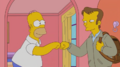 Wayne bumps fists with Homer