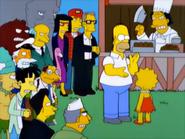 Angry mob watching around at Homer