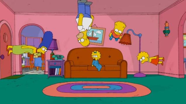 Gravity couch gag