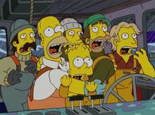 Homer bart tripulação barco medo