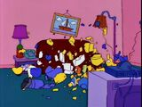 Clapboard couch gag