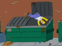 Homer mergulho lixeira