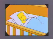 Bart young sleeping in a photo in And Maggie Makes Three