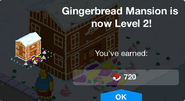 Gingerbread Mansion Level 2 Upgrade Screen