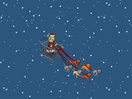 Ms. Claws Driving the Cat Sleigh over ocean in winter