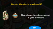 Classic Mansion Level 4 Upgrade Screen