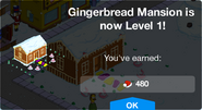 Gingerbread Mansion Level 1 Upgrade Screen
