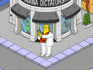 Cayman Island Banker Visiting Customers in front of Banana Dictatorship