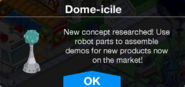 Dome-icile crafting unlocked message