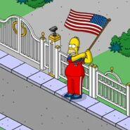 Patriotic Homer Waving a Big Flag Around (1)