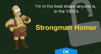 Strongman Homer unlock screen