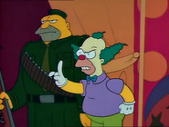 Krusty with Corporal Punishment in the show