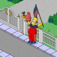 Patriotic Homer Waving a Big Flag Around (2)