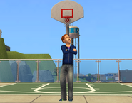Justin Newbie in front of bball net