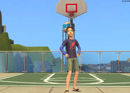Newbie family outtake - Evan in front of basketball net