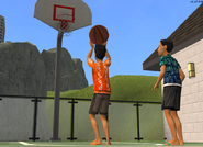 Joey and Tim shooting hoops