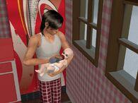 Персонаж кормит младенца из бутылочки