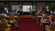 Sims at a lecture