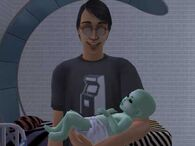 Pascal with alien baby