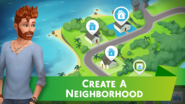 The Sims Mobile screenshot 1 'Create a Neighborhood'