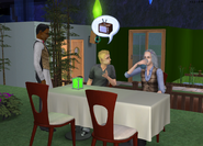 Cody and Beth chatting at dinner