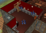 Amar's Restaurant kitchen isometric looking towards stairs