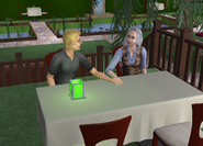 Cody and Beth caressing hands