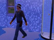 Clark Sauer repairing a shower