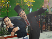 Sim getting swindled by Unsavory Charlatan