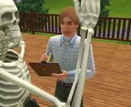 Harold Assange studying a skeleton