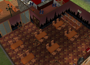 Amar's Restaurant dining room isometric looking towards kitchen