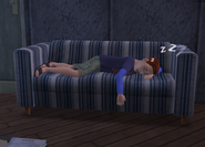 Evan sleeping over on someone's couch