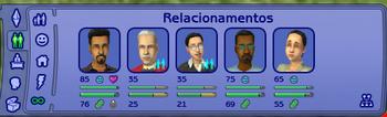 O painel de relacionamentos de Cassandra Caixão em The Sims 2.