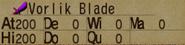 Vorlik Blade Stats