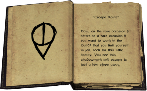 """""""Escape Route"""" - Now, on the rare occasion (it better be a rare occasion if you want to work in the Guild) that you find yourself in jail, look for this little beauty. You see this shadowmark and escape is just a few steps away."""