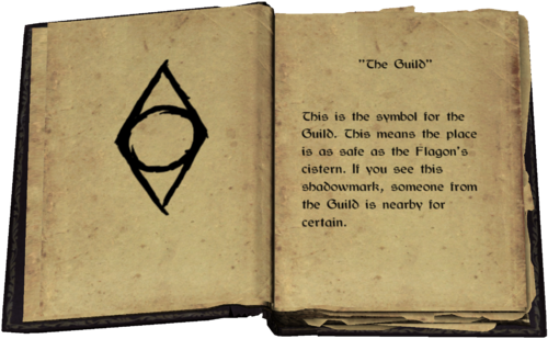 """""""The Guild"""" - This is the symbol for the Guild. This means the place is as safe as the Flagon's cistern. If you see this shadowmark, someone from the Guild is nearby for certain."""