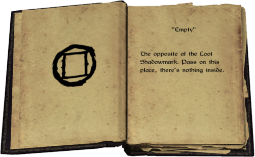 """""""Empty"""" - The opposite of the Loot Shadowmark. Pass on this place, there's nothing inside."""