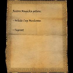 Restore Magicka potion: White Cap Mushroom, Taproot
