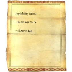 Invisibility potion: Ice Wraith Teeth, Chaurus Eggs