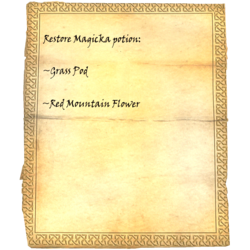 Restore Magicka potion: Grass Pod, Red Mountain Flower
