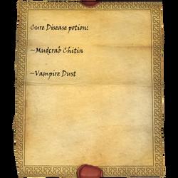 Cure Disease potion: Mudcrab Chitin, Vampire Dust